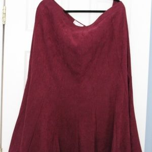 Burgandy Faux Suede Dress Barn Skirt SZ 16